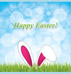 Easter greeting card with rabbit ear vector