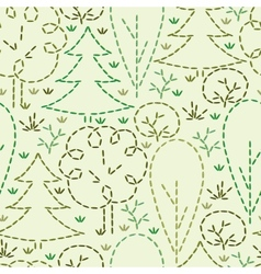 Embroidered forest seamless pattern background vector image