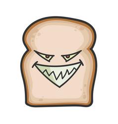 Evil slice bread cartoon vector