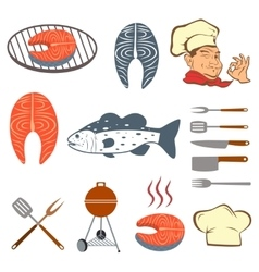 fish set steak and tools vector image