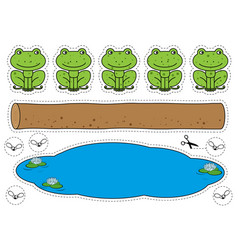 Five little speckled frogs game vector