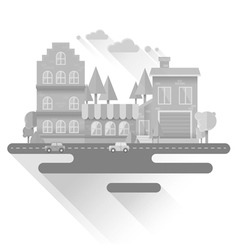 flat houses trendy set buildings icons isolated vector image