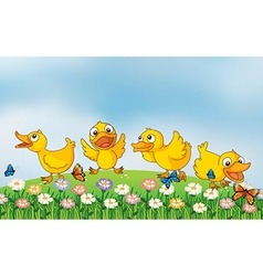 Four ducks playing in the park vector