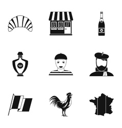 France Republic icons set simple style vector