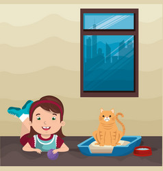 girl with cat character vector image
