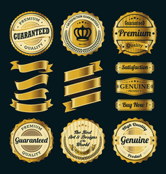 Golden badges and ribbons vector