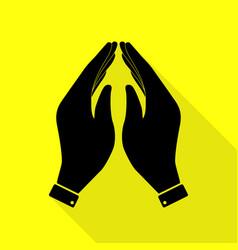 hand icon prayer symbol black icon vector image