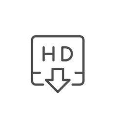 hd video downloading line icon vector image
