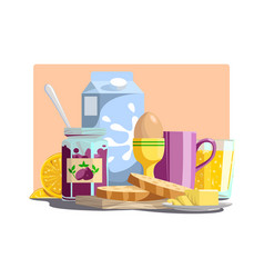 Healthy ingredients for meal in morning vector