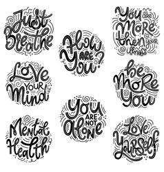 Inspirational quotes for mental health day vector