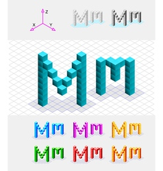 Isometric font from the cubes Letter M vector