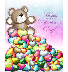 little teddy bear with hearts vector image