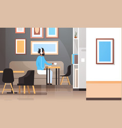 Man drinking coffee listening to music on vector