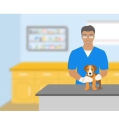 Man veterinarian holding a dog in veterinary vector