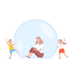 Mom sitting in transparent bubble her children vector