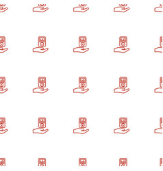 mp player on hand icon pattern seamless white vector image