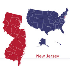 new jersey map counties with usa map vector image