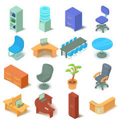 Office furniture icons set isometric style vector