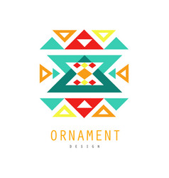 ornament logo template colorful ornate pattern vector image