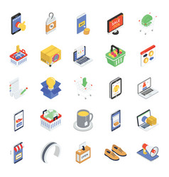 Pack ecommerce isometric icons vector