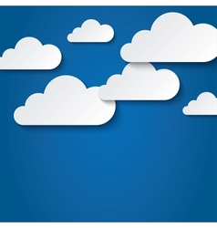 Paper clouds on blue background Paper sky vector image