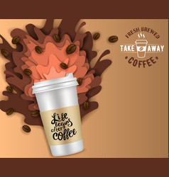 paper cut takeaway coffee poster template vector image