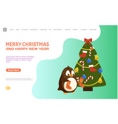 Penguin with socks near christmas tree web vector