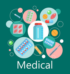 pharmacy banner of medicine and health symbols vector image