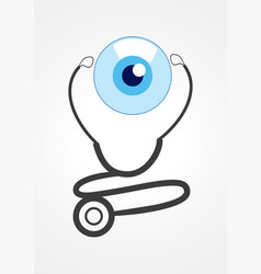 Pictogram of a stethoscope and eye ball vector