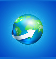 Planet earth with white arrow vector