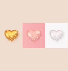 realistic 3d heart shape with glitter and vector image