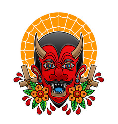 Red devil head tattoo vector