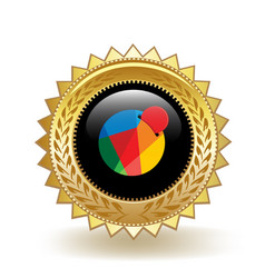 Reddcoin cryptocurrency coin gold badge vector