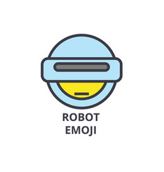 robot emoji line icon sign vector image