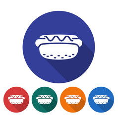 round icon of hot dog flat style with long shadow vector image