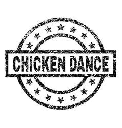 Scratched textured chicken dance stamp seal vector