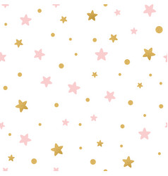 seamless pattern decoreted gold pink stars vector image