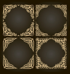 Set decorative golden frames vector
