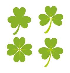 Set green shamrock symbols and icon vector
