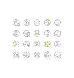 Set line icons allergy vector