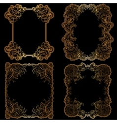 Set of frame with hand-drawing ornaments vector image