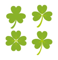 Set of green shamrock symbols and icon vector