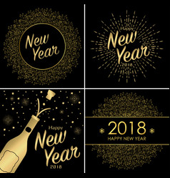 set of happy new year 2018 greeting card vector image