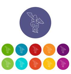 sign medicine icons set color vector image