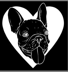 silhouette cute puppy pug on a black background vector image