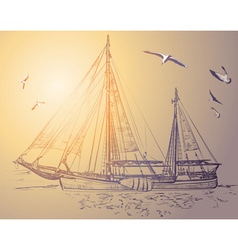 Sketch of a Pirate Ship vector image