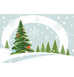 snowy christmas firtree vector image