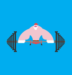 strong santa claus deadlift with barbell vector image