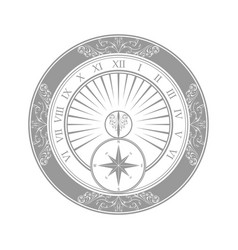 sundial gray silhouette vector image