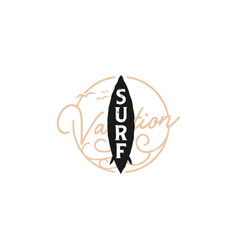 Surf logo with a board silhouette and typographic vector